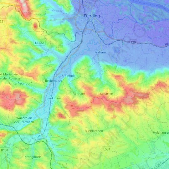 Scharten topographic map, relief map, elevations map
