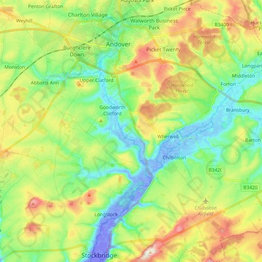 Wherwell topographic map, elevation, relief