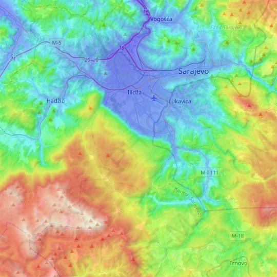 Igman topographic map, elevation, relief