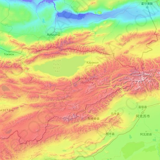 Issyk-Kul Region topographic map, relief map, elevations map