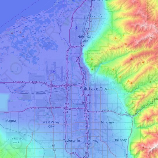 Salt Lake City topographic map, relief map, elevations map