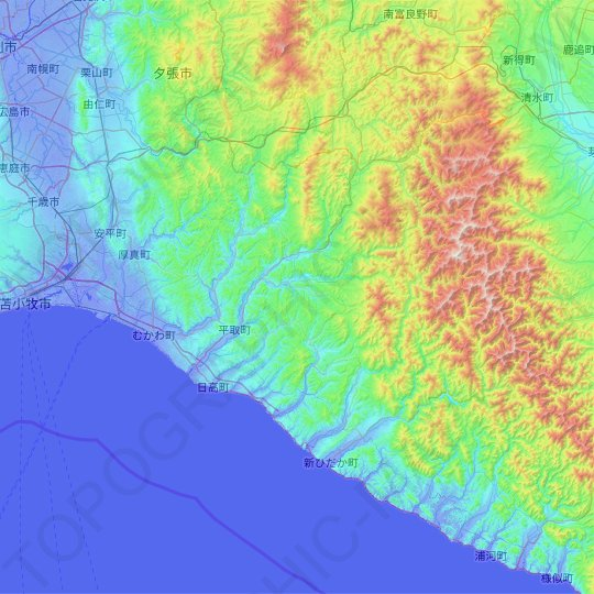 Saru topographic map, elevation, relief