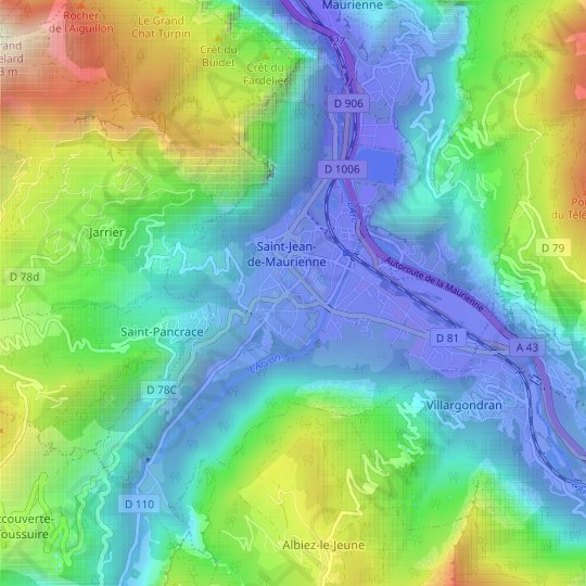 Saint-Jean-de-Maurienne topographic map, relief map, elevations map