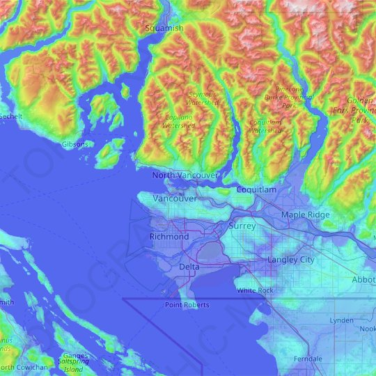 Metro Vancouver Regional District topographic map, relief map, elevations map