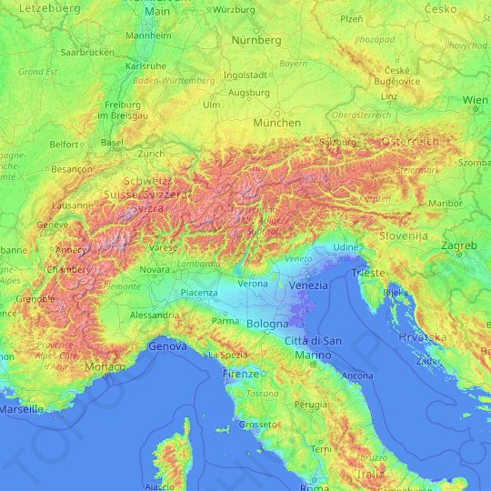 Alps topographic map, relief map, elevations map