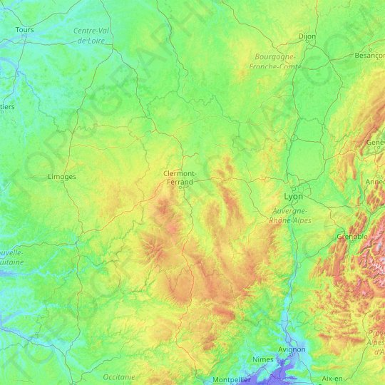 Auvergne topographic map, elevation, relief