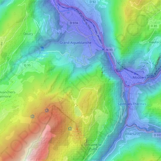 Le Bois topographic map, relief map, elevations map