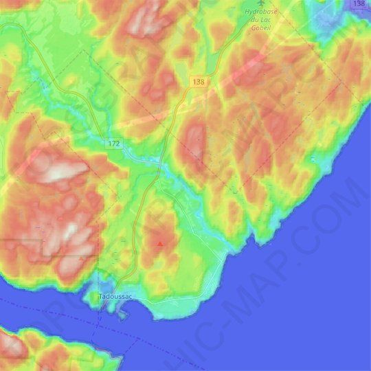 Tadoussac topographic map, relief map, elevations map