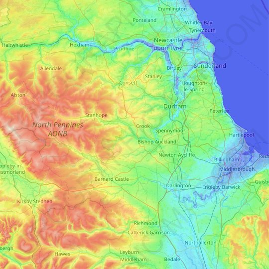 County Durham topographic map, relief map, elevations map