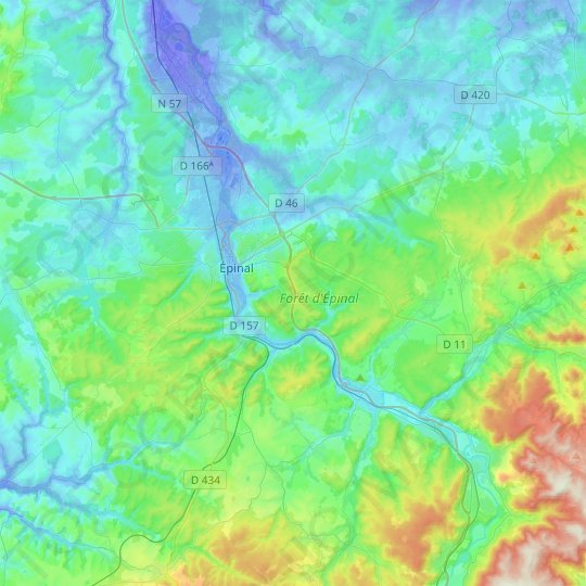 Épinal topographic map, relief map, elevations map