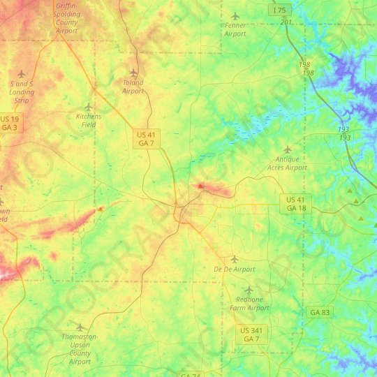 Lamar County topographic map, elevation, relief