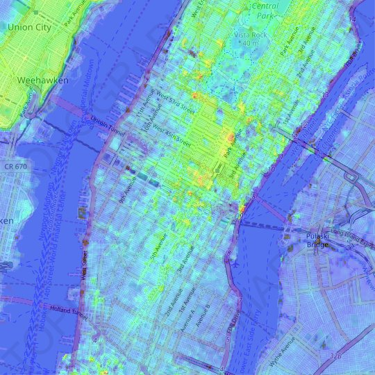 Midtown South topographic map, relief map, elevations map