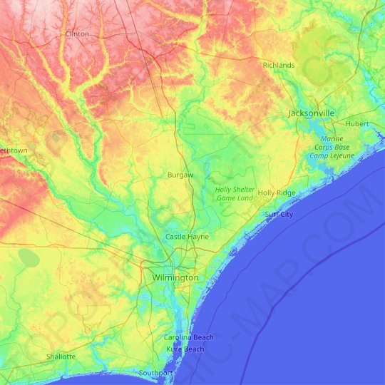 Pender County topographic map, elevation, relief