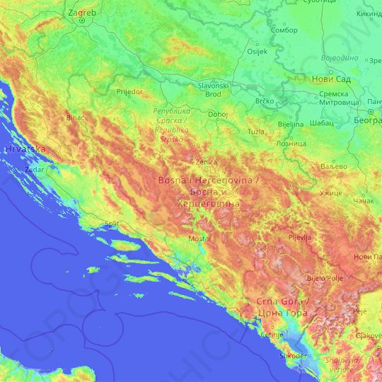Bosnia and Herzegovina topographic map, relief map, elevations map