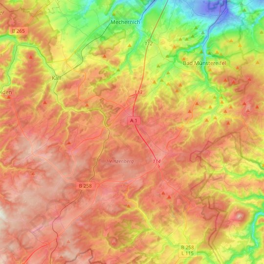 Nettersheim topographic map, relief map, elevations map