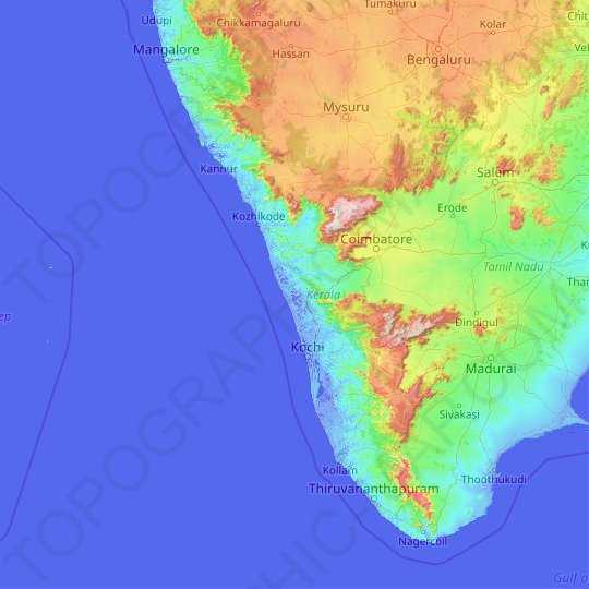 Kerala topographic map, elevation, relief