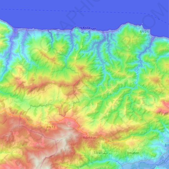 Adekar Disctrict topographic map, elevation, relief
