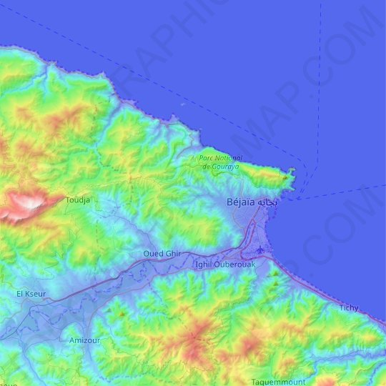 Bejaia District topographic map, elevation, relief