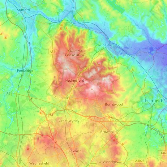 Cannock Chase topographic map, relief map, elevations map on