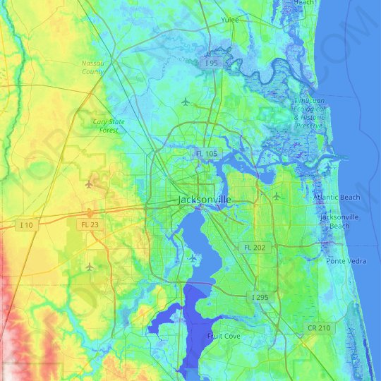 Jacksonville Fl Elevation Map Jacksonville topographic map, elevation, relief