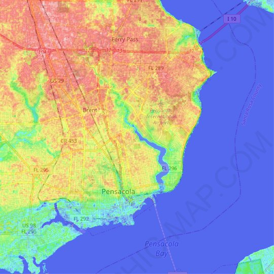 Pensacola topographic map, relief map, elevations map on