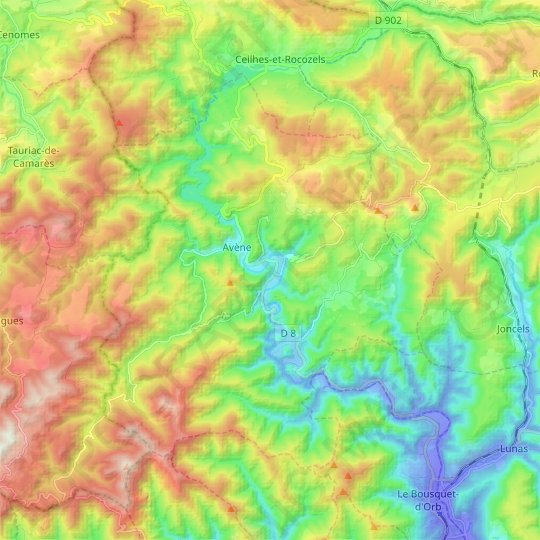 Avène topographic map, relief map, elevations map