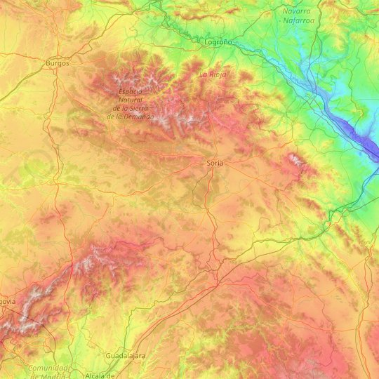 Soria topographic map, relief, elevation