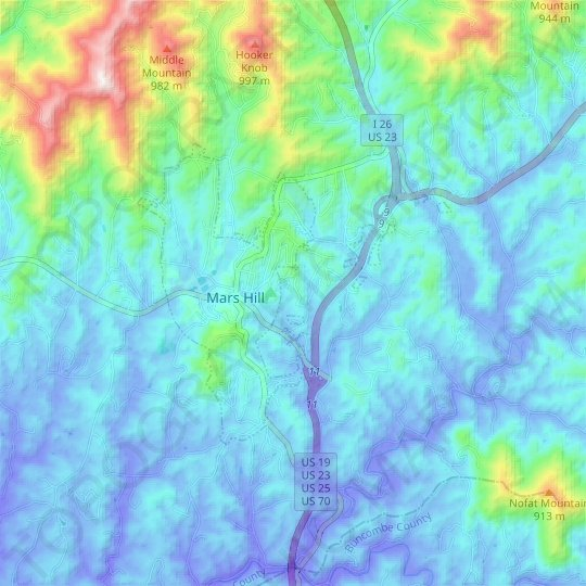 Mars Hill topographic map, relief map, elevations map