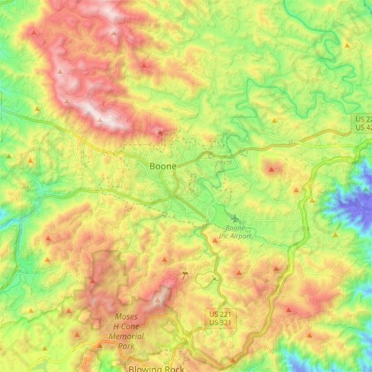 Boone topographic map, relief map, elevations map