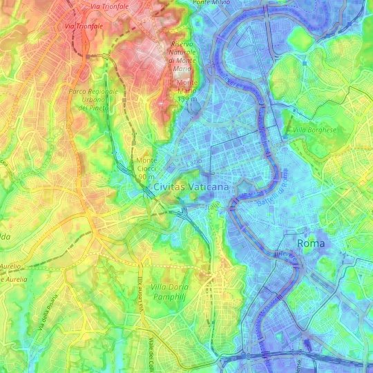 Vatican City topographic map, relief map, elevations map