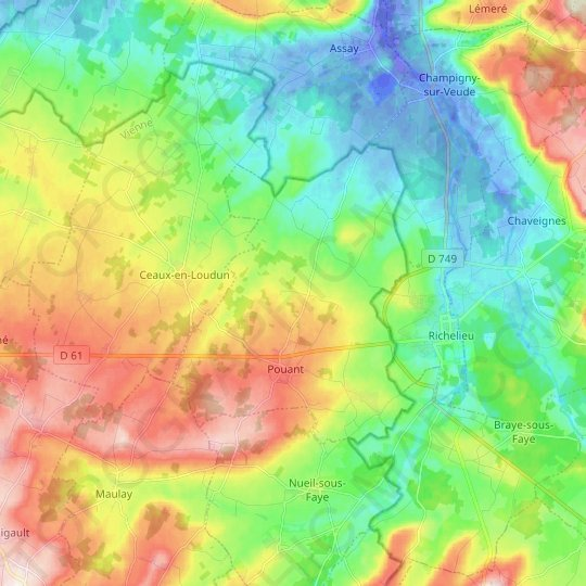 Pouant topographic map, relief map, elevations map