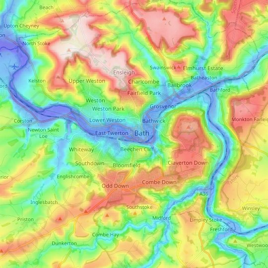 Bath topographic map, relief map, elevations map