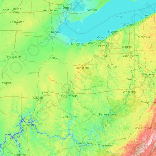 Ohio topographic map, relief map, elevations map
