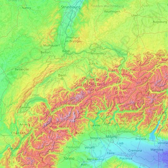 Switzerland topographic map, relief map, elevations map