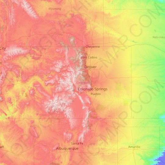 Colorado topographic map, relief map, elevations map