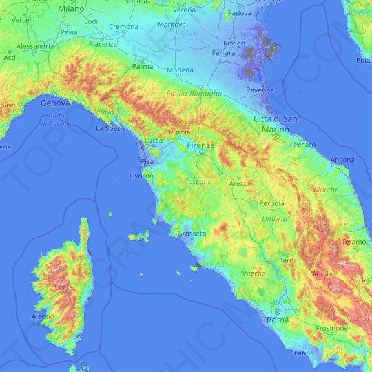 Tuscany topographic map, elevation, relief