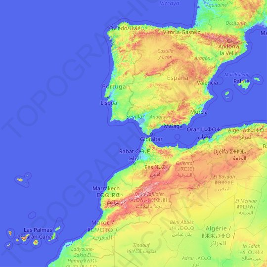 Spain topographic map, relief map, elevations map