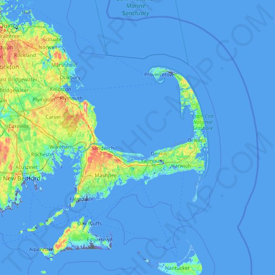 Cape Cod topographic map, relief map, elevations map