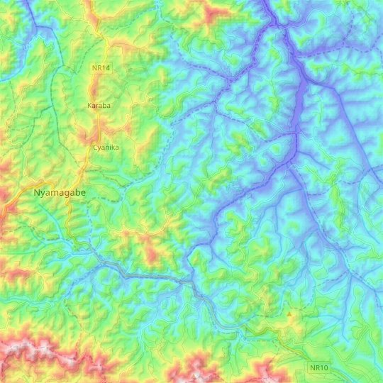 Kigoma topographic map, elevation, relief