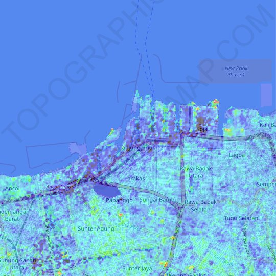 Tanjung Priok topographic map, relief map, elevations map