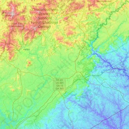 Habersham County topographic map, elevation, relief