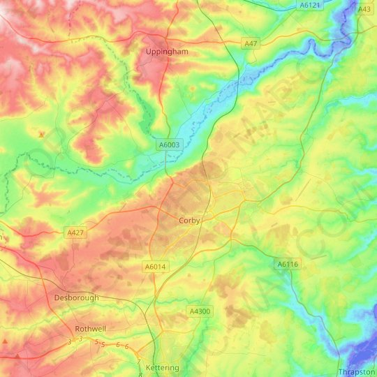 Corby topographic map, relief map, elevations map