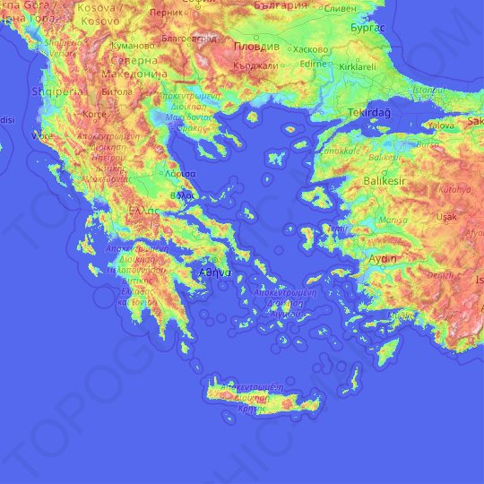 Greece Topographic Map Elevation Relief