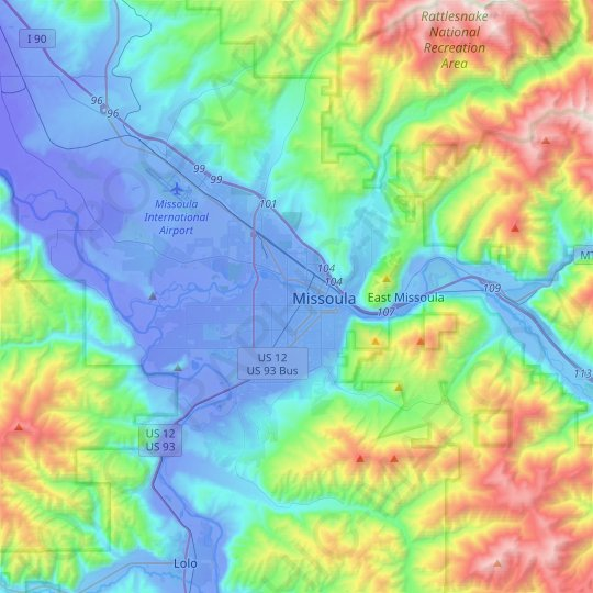 Missoula topographic map, relief map, elevations map