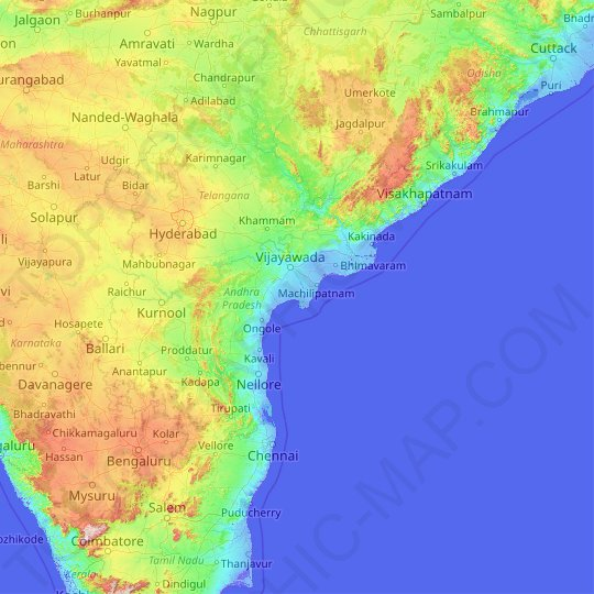Andhra Pradesh topographic map, relief map, elevations map
