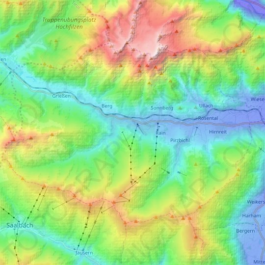 Leogang topographic map, elevation, relief