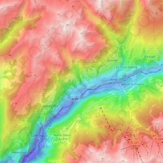 Aime topographic map, relief map, elevations map