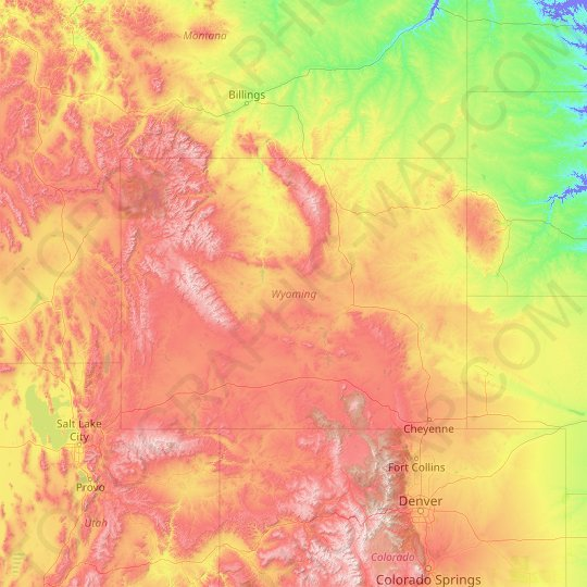 Wyoming topographic map, elevation, relief