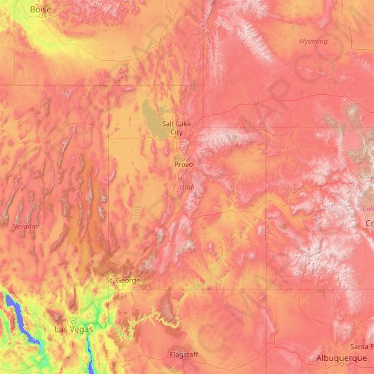 Utah topographic map, relief map, elevations map