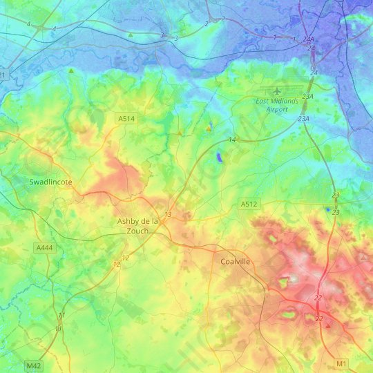 North West Leicestershire topographic map, relief map, elevations map